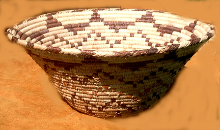 Native American Indian Relic. Photo of Native American Indian Grain Basket