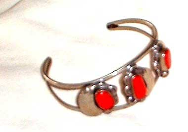Photo of Native American Indian Coral and Silver Bracelet