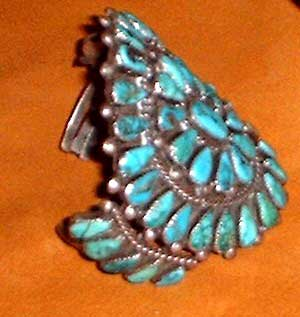 Photo of Old Pawn Turquoise and Silver bracelet, Navajo Silversmith