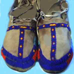 Photo of Sioux Indian full bead moccasins from the late 1800's era